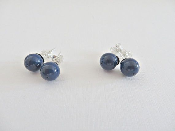 Blue pearl studs, Pearl stud earrings, Swarovski pearl studs, Dark blue stud earrings, 8mm pearl stud, Simple pearls studs, Made in UK