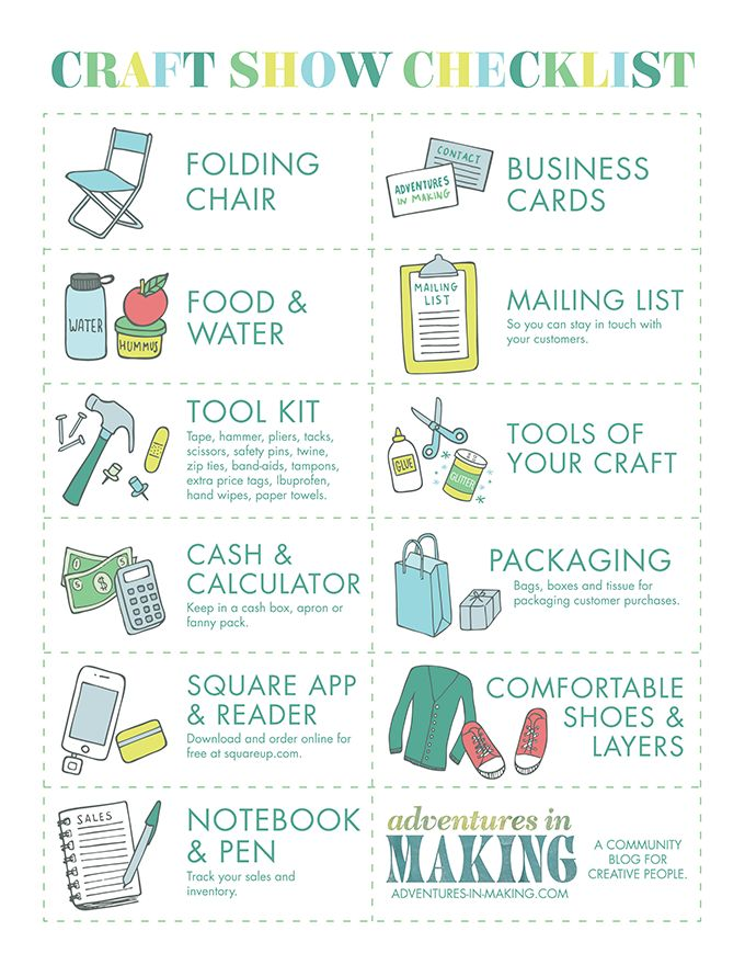 BIZ: How To Prepare For Your First Craft Show | http://adventures-in-making.com/biz-how-to-prepare-for-your-first-craft-show/ #printable #checklist #craft