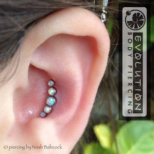 Fresh conch piercing with opal...