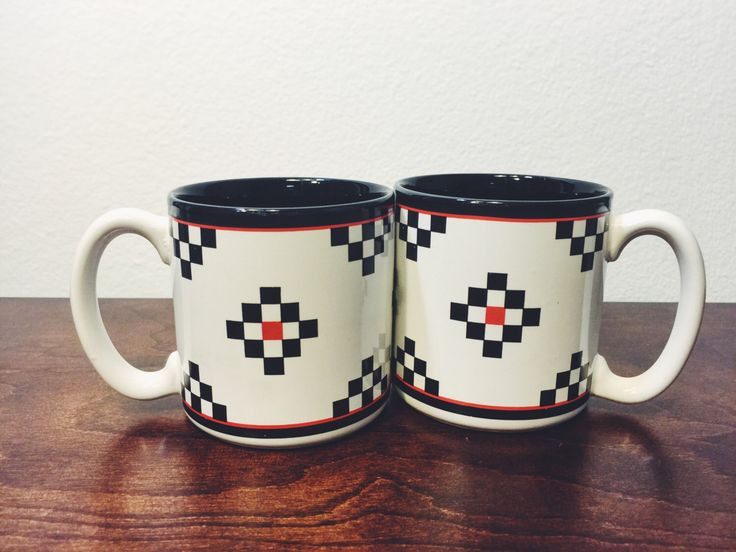 Retro Black, White, and Red Coffee Mugs Set of 2 //Coffee Bar //Southwestern Decor // Hipster Coffee Mugs // His and Her Mugs // Vintage Mug by TheLastFlamingo on Etsy https://www.etsy.com/listing/465353299/retro-black-white-and-red-coffee-mugs
