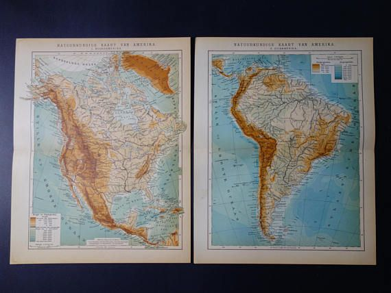 AMERICA old map set of two 2 original antique Dutch maps about