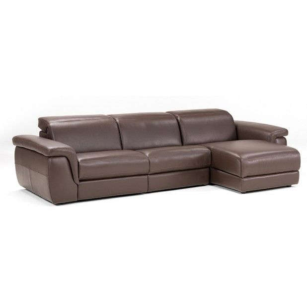 The calle sectional chocolate brown leather with fluid Dual Power motion one arm recliner, fluid Power Motion headrest armless chair & fluid Power Motion headrest chaise in left and right configuration.
