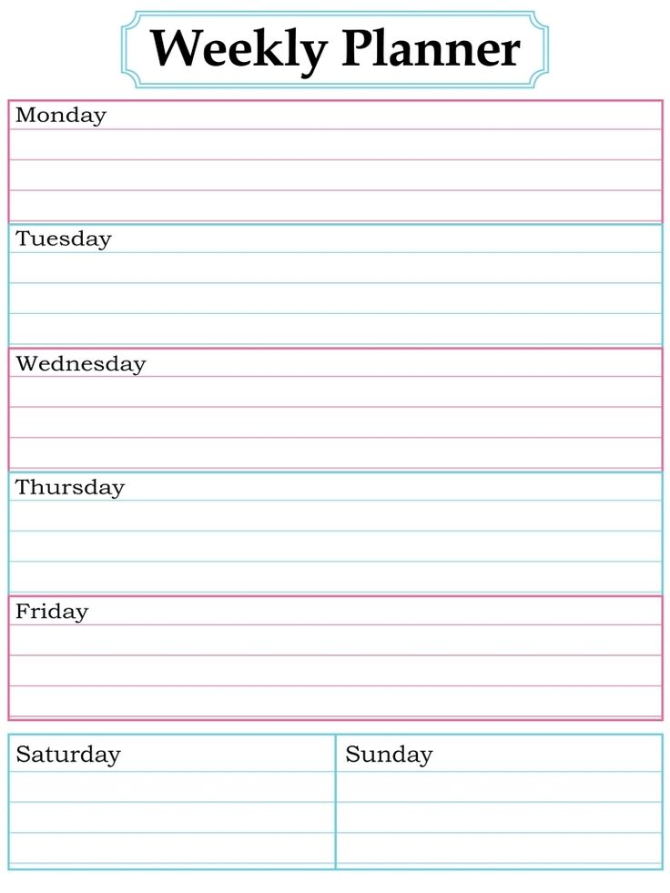The  Best Weekly Calendar Template Ideas On   Weekly