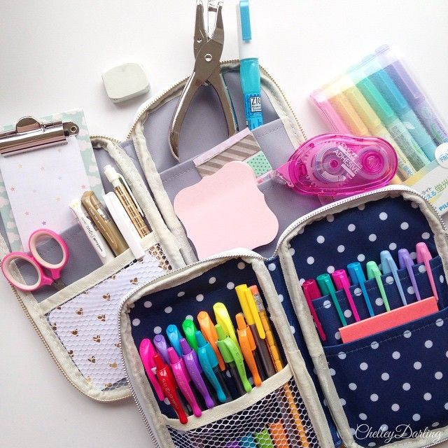 My favorite planner supplies in my Webster's Pages Craftmate Folios - I like my supplies to be easily portable. A simple single-hole punch. Colored pens and highlighters. Basic sticky notes. Adhesive roller. Zig 2-way glue pen. A tiny scissors. And of course a pencil, pen, eraser, washi card, and mini listpad. All of this equals one happy and productive #plannergirl :)