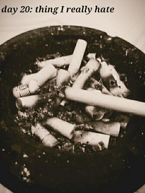 Not the cigarettes, but the full ashtray.