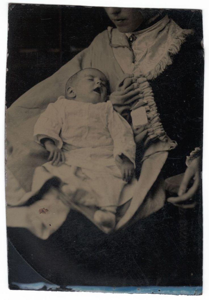 Tintype Memento Mori Postmortem PM: Mother Cradles Deceased Infant