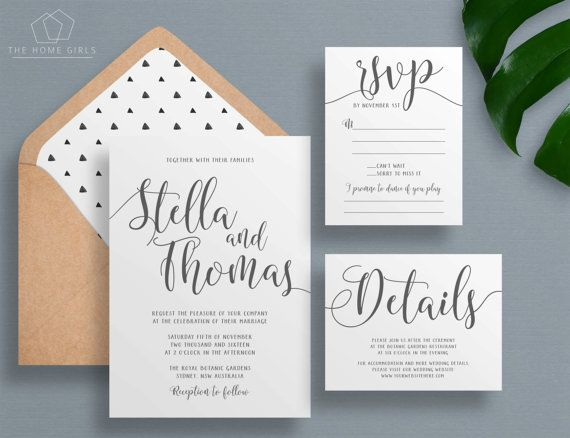 Printable Wedding Invitation Suite Calligraphy / Save the Date / Grey / Thank You / Details / Custom / Download / Invite Set / Stella Suite