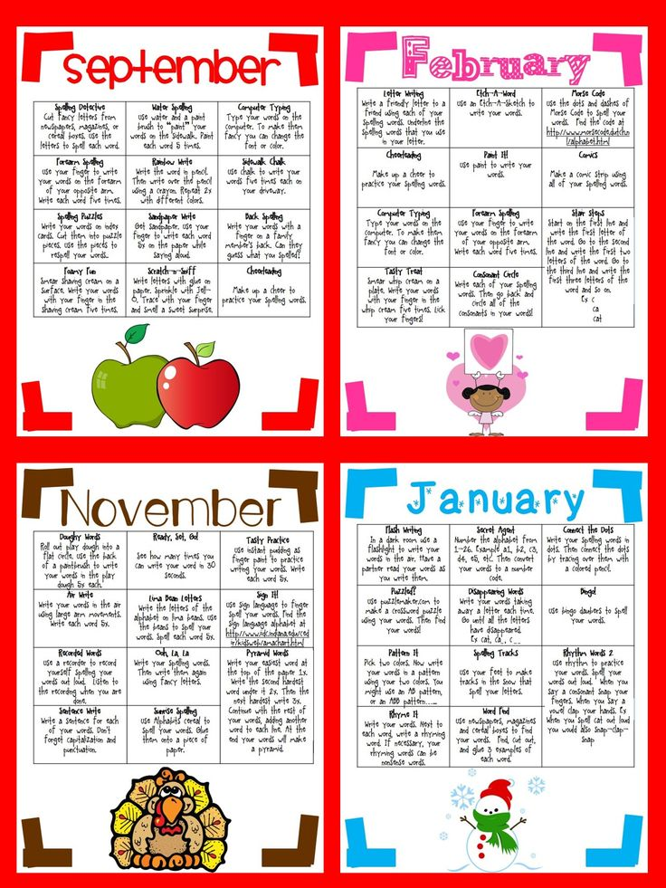Instead of assigning traditional spelling practice for homework, increase your students' engagement by using these nine, monthly spelling cafes. Each month has at least 11 different ways to practice their spelling words. $