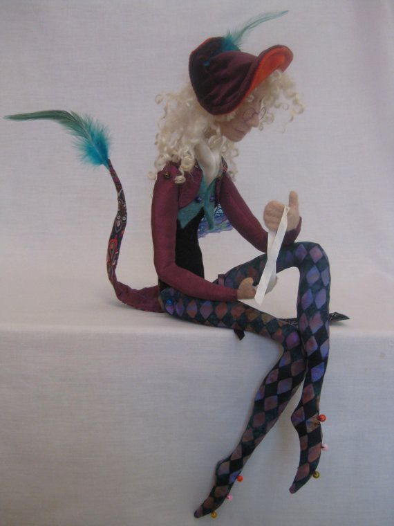 AVAILABLE OOAK needle felted sculpture Harlequin11 art doll