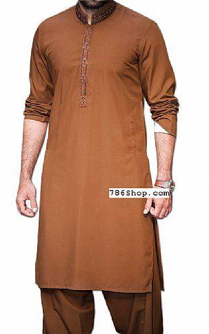 Golden Brown Men Shalwar Kameez | Buy Pakistani Indian Dresses
