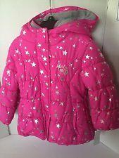 ZeroXposur Girls Jacket Size 4 Hot Pink Silver Hoodie Double Closure Puffy Warm