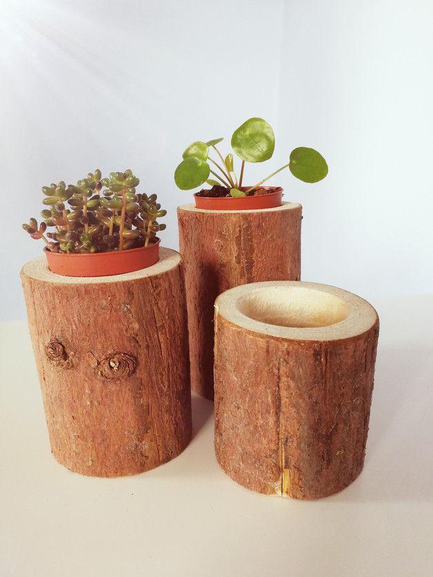 Zestaw 3 doniczek drewnianych 100% naturalne, wysokości: 8cm, 10cm i 11,5cm, średnica ok.7,5cm, otwór 5cm. Idealne na sukulenty :)