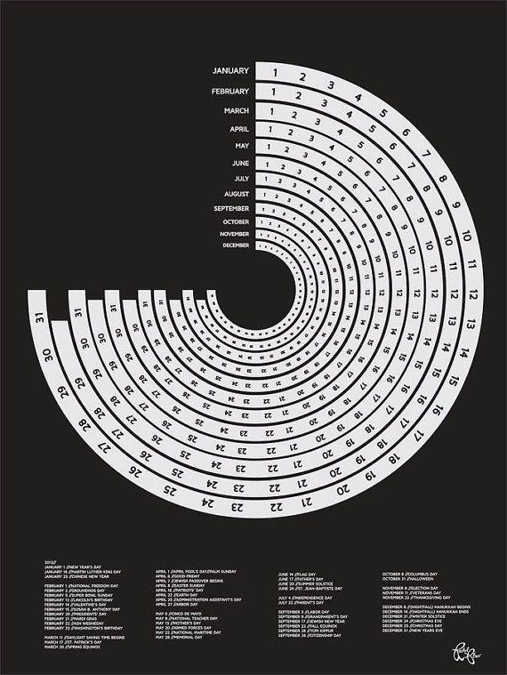 2012 Calendar Poster - Screen Printed Infographic 18x24