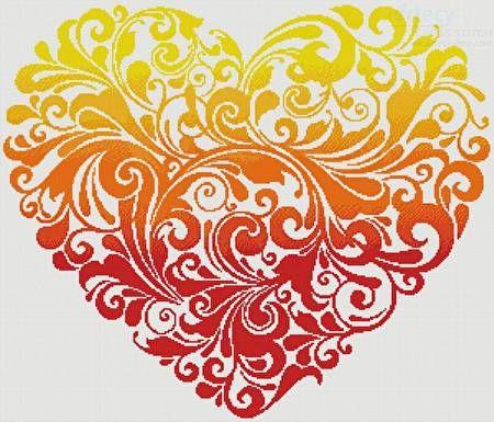 Red Orange Yellow Heart - cross stitch pattern designed by Tereena Clarke. Category: Love.