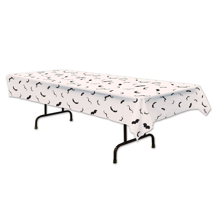 Moustaches Galore Print Tablecloth (Plastic).  Featuring assorted printed moustaches, this great tablecloth it's perfect for the buffet or refreshment table at your 'stache Bash, Movember Event or any moustached themed party!  size: 137 x 274cm