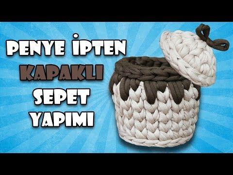 Penye ipten sepet kapağı yapımı-penye ipten sepet yapımı-DIY - YouTube