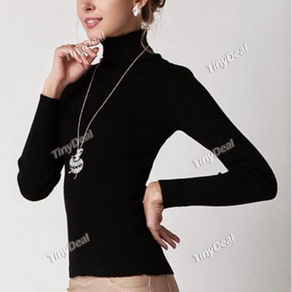 Интернет - магазины : Оригинальная женская вязаная водолазка в богатом ц...