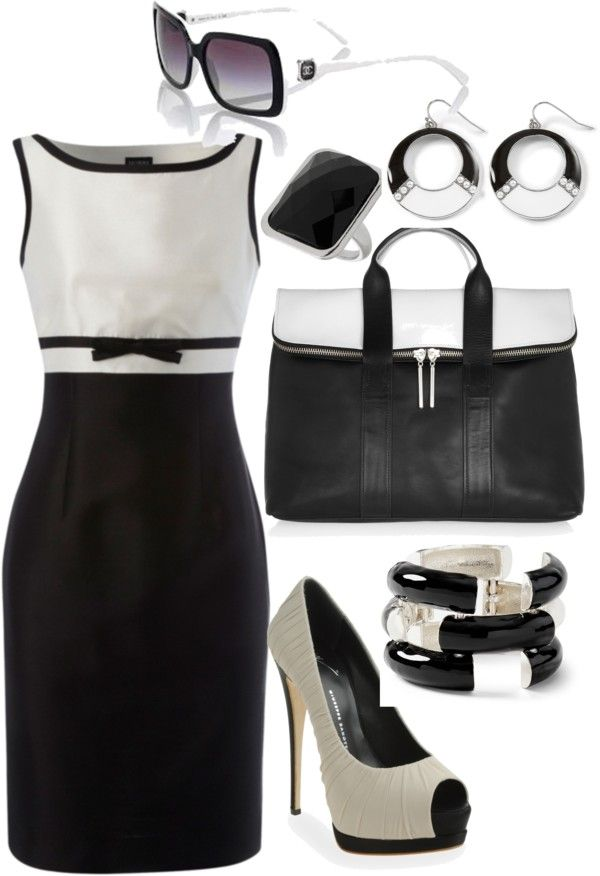 """Black & White """"buisness casual""""  by klasalle2 on Polyvore"""