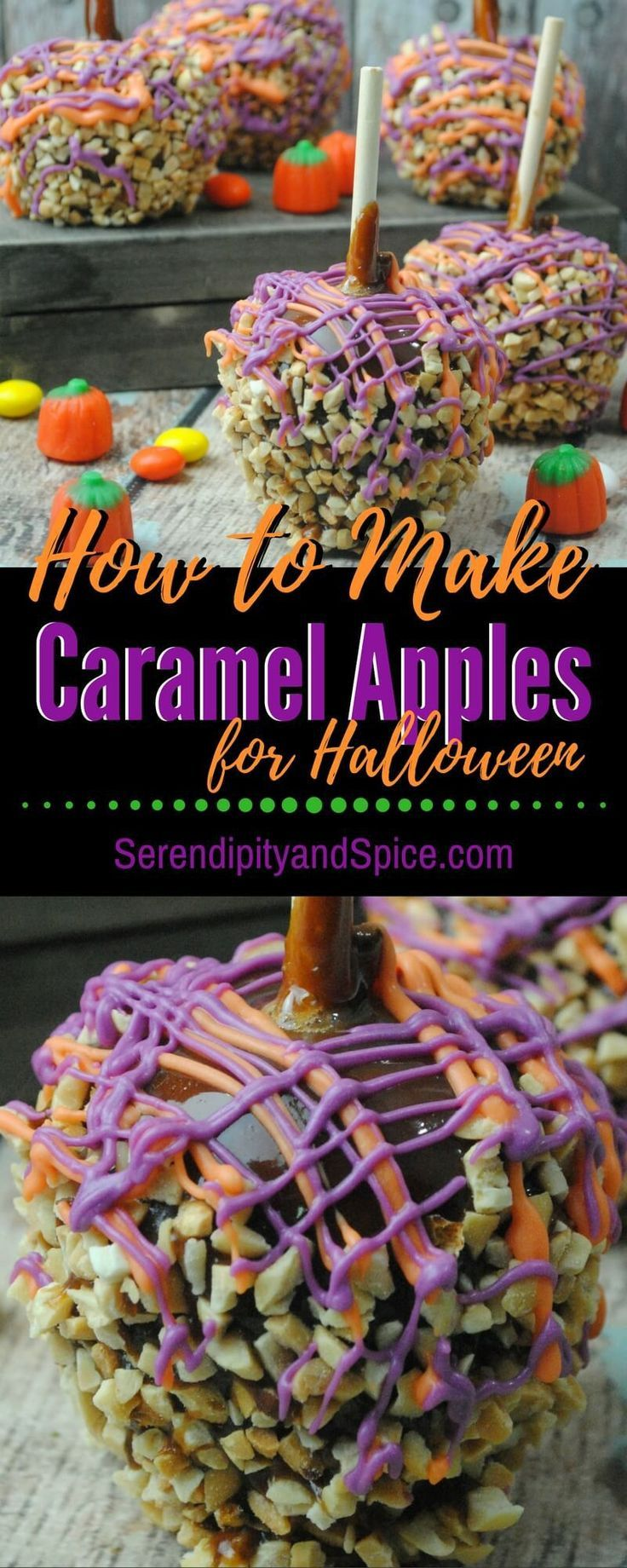 How to Make Caramel Apples for Halloween ~ these make the perfect treat for school bake sales, halloween parties, and just for fun.  Plus, they're so easy to make...cook with kids....sweet candy apples. http://serendipityandspice.com