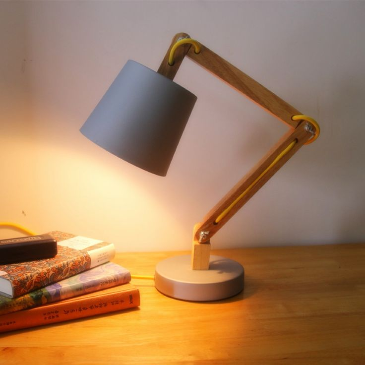 NEW LOFT Modern Wood Read Table Lamp Vintage Solid Wood Modern Desk Lamp American Study Light warm white Swing arm Bedside lamp #Affiliate
