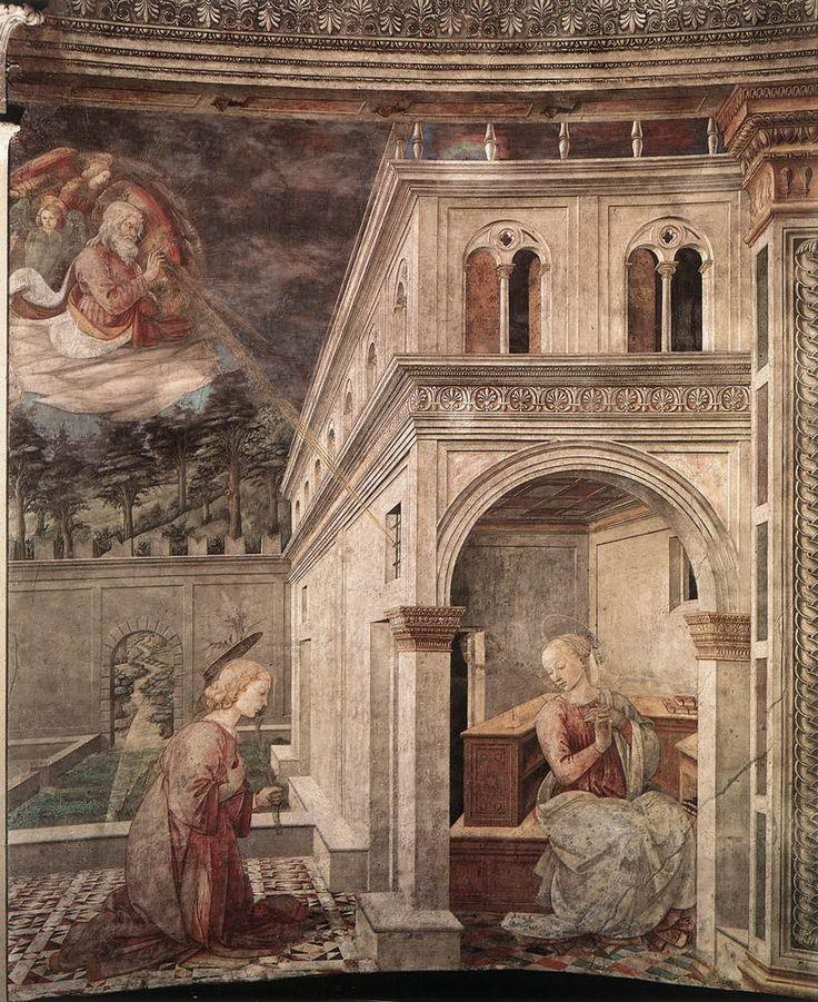 Благовещение. 1467-69 гг. Фра Филиппо Липпи. Дуомо, Сполето. Фреска.