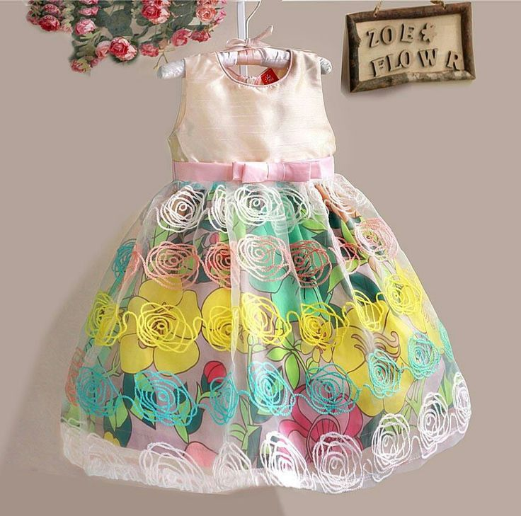 Dress zoe pelangi, sz 3-8tahun