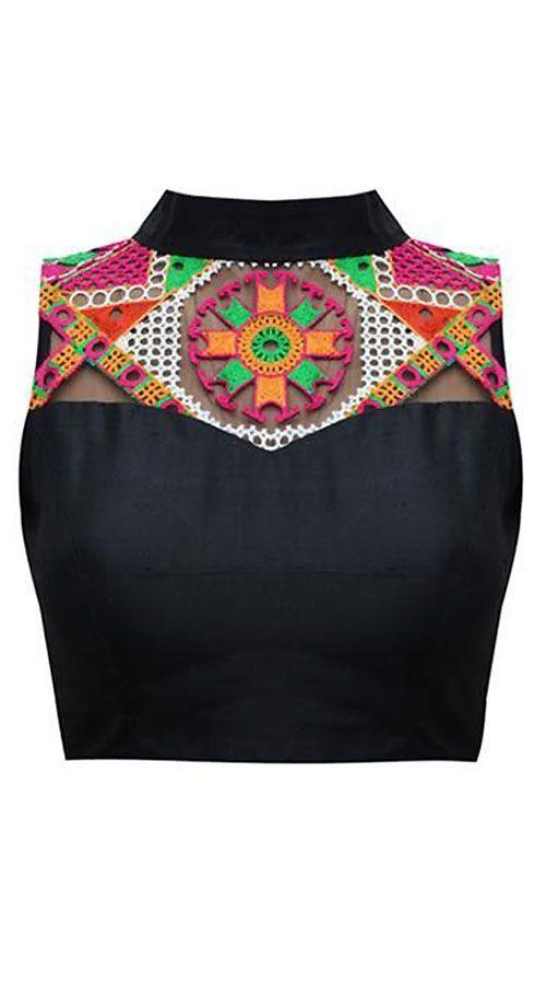 Resham Work Black Premium Fabric Designer Blouse For Saree