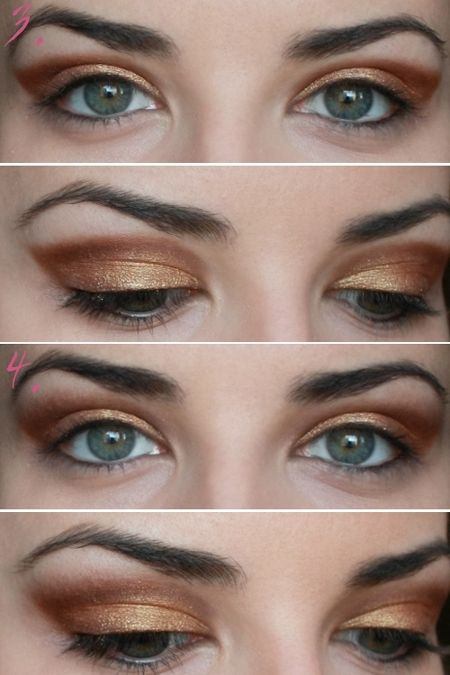 Party Makeup: Gold Copper Eyes Tutorial Steps