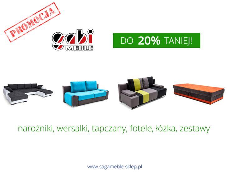 Aż 80 produktów producenta mebli tapicerowanych Gabi w cenach niższych nawet o 20%! Zapraszamy :)  http://sagameble-sklep.pl/692-promocja-gabi-do-20-taniej