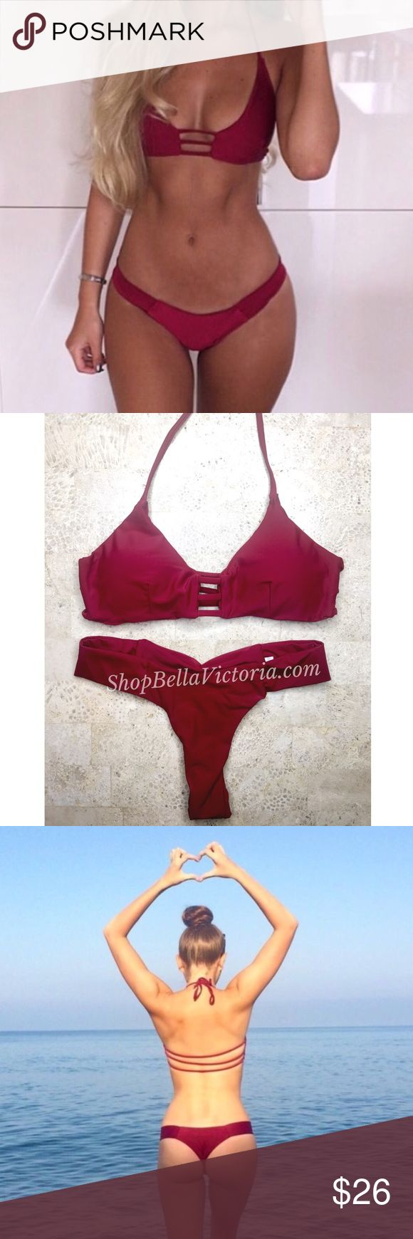 Kiera- Burgundy Strappy Thong Bikini Set New New !   Kiera bikini set strappy halter top comes padded with thong ruched bottom    Size available : Small(24in waist) , Medium( 26in waist)  *Note all measurements are taken of garments laying flat without stretching  Color: Burgundy  Bundle to save   Follow & tag:  Ig: shopBellaVictoria  Fb: Bella Victoria BellaVictoriaBoutique Swim Bikinis