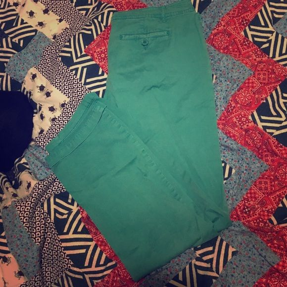 Teal pants These are slightly cropped and are tealish color. The tag says size 7 but probably a comfortable 6. Mossimo Supply Co. Pants Trousers