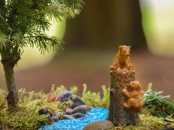 Fairy Garden Bear Cubs on Tree Stump / Miniature Bears Figurine / Fairy Garden Accessories – Products