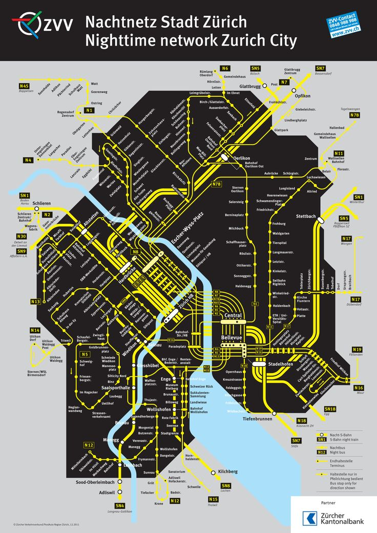 Official Map: City of Zurich Night S-Bahn and Bus Network, Switzerland. One type of map we haven't covered yet here at Transit Maps is the night services map, often considered a very poor relation to the main map. However, there are some excellent examples out there, especially this black and yellow beauty from the city of Zurich in Switzerland.