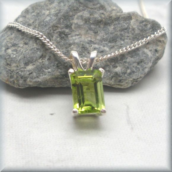 Emerald Cut Peridot Necklace - Gemstone Pendant - August Birthstone
