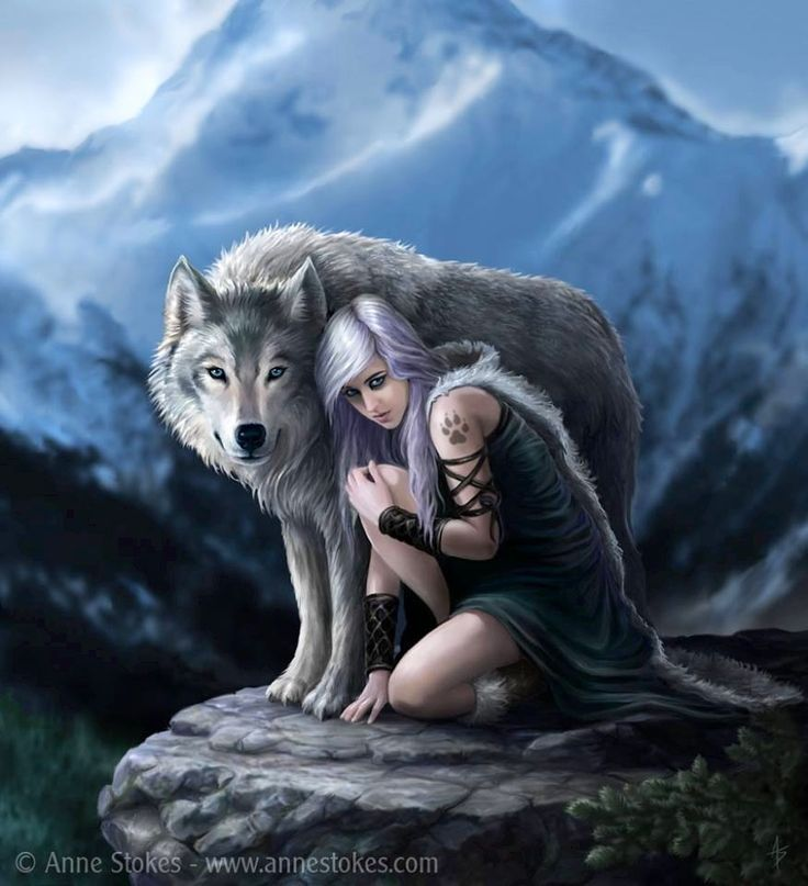 Werewolf Girl ~ Anne stokes...One of the savage girls that grew with the wolves.