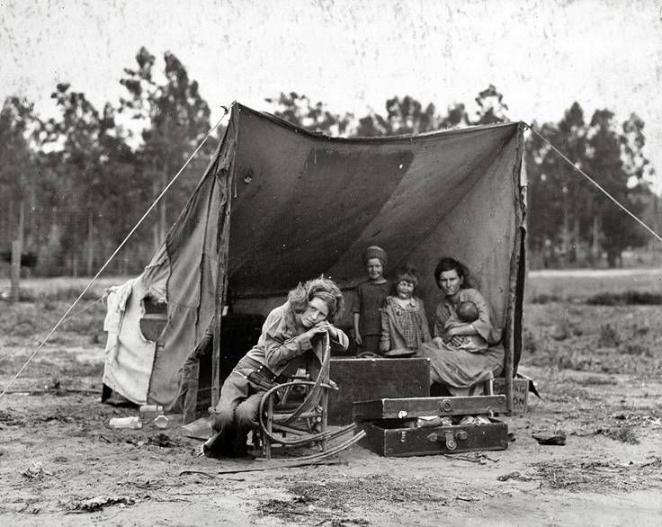 """The mother in this photo is the famous subject of a Depression-era portrait known as """"Migrant Mother."""" Description from pinterest.com. I searched for this on bing.com/images"""