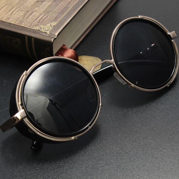 Óculos de sol redondos unisex retro do vintage óculos de lentes de óculos de sol steampunk