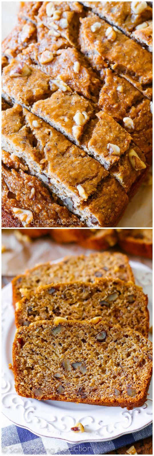 Whole Wheat Banana Bread Recipe on sallysbakingaddiction.com No oil, no butter, whole wheat, and actually tasting GREAT.