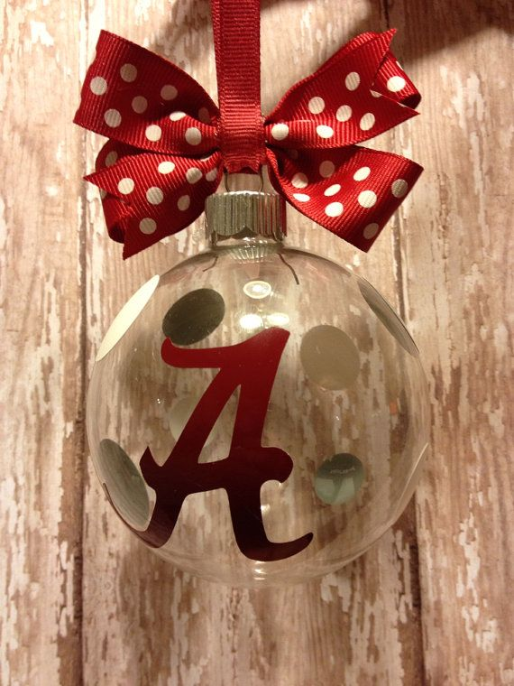Alabama Roll Tide Clear Glass Ornament by RamblinRoseBoutique, $10.00