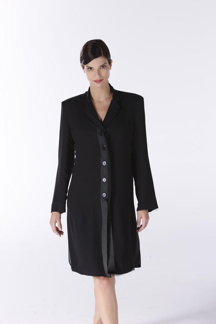Black button-down dress.