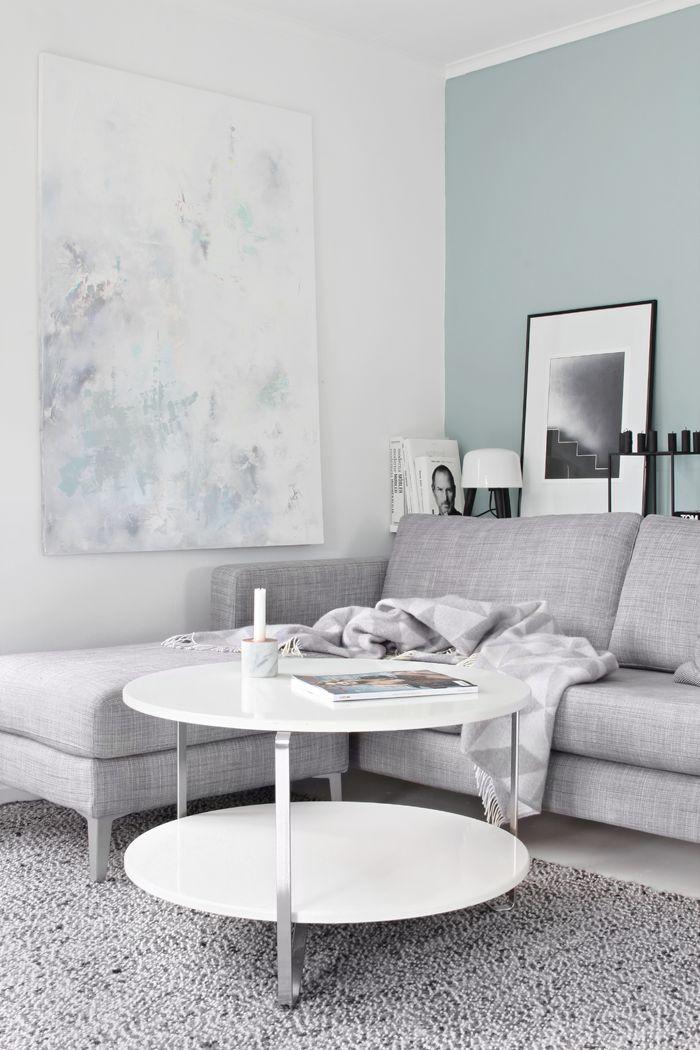 living room, grey sofa, duck egg walls, coffee table