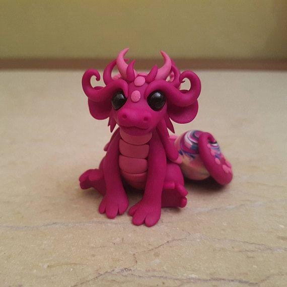 pink dragon figurine original Christmas gift idea handmade