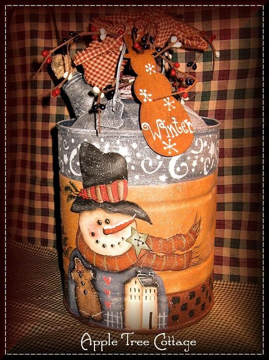 hand painted kerosene can