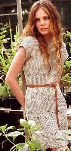 Платье спицами с узором листики | Ажурное чудо