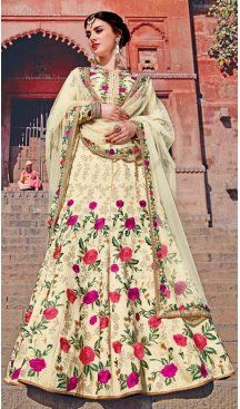 Cream Color Silk Embroidery Designer A Line Lehenga Choli | FH583486044 Follow us @heenastyle #bride #indianwedding #brotherofthebride #bridesman #indianbride #lehenga #bridallehenga #bridaljewelry #bridalfashion #weddingfun #weddingstyle #weddingfashion #weddingsutra #bridalwear #designerlehenga #designerwear #newarrival #designer #indianfashion #indianweddings #mehendi #wedding #londonfashionweek #dubaiethnic #womenfashion #trendy #heenastyle