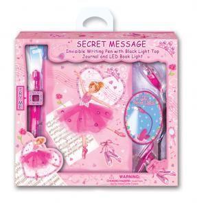 Set secret messages - Col. dancer - Diário de capa dura com desenhos e decorações coloridos. Inclui caneta de tinta invisível com luz UV para escrever e ler mensagens secretas e uma mini laterna LED com mola para prender no caderno.