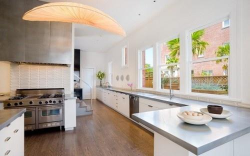 white/grey kitchenBacksplash Tile, Kitchens Design, Lights Fixtures, Open Spaces, White Kitchens Cabinets, California Home, Kitchens Ideas, Modern Kitchens, San Francisco