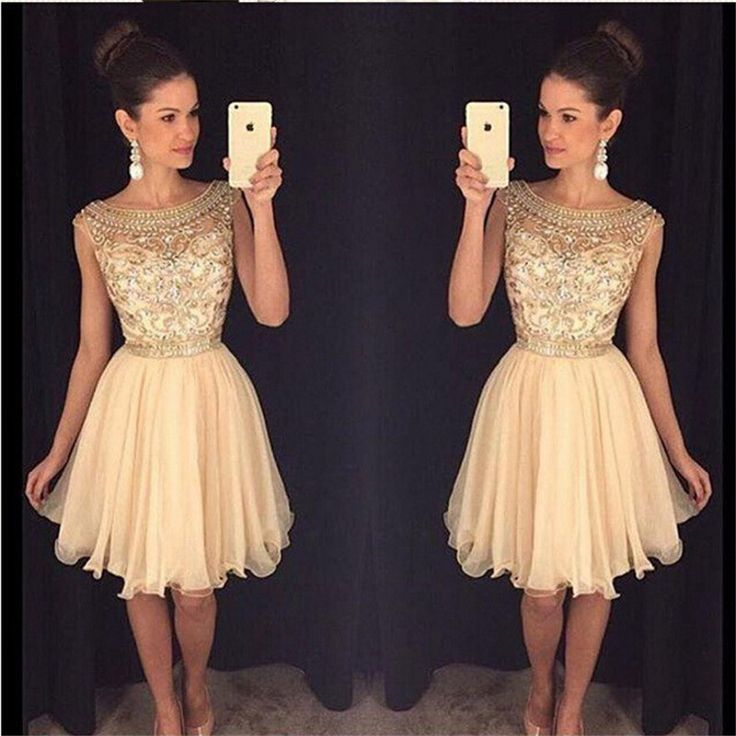 New 2017 Homecoming robe de soiree Vestido de festa longo Crystals Beaded by Hand Champagne Short evening dresses for women