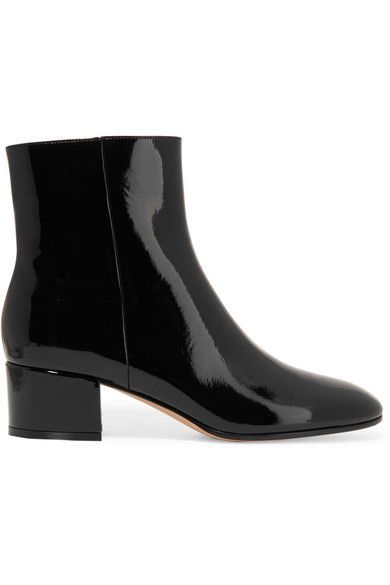 GIANVITO ROSSI Patent-leather ankle boots £449  Heel measures approximately 45mm/ 2 inches Black patent-leather Concealed zip fastening along side Made in Italy