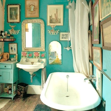 Harmonious blend of fresh bold color and vintage pieces.